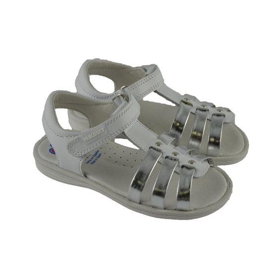 #Sandalias de tiras en piel metalizada plata para primeros números de calzadura con suelas de goma y sujeción de velcro de la marca española PABLOSKY.