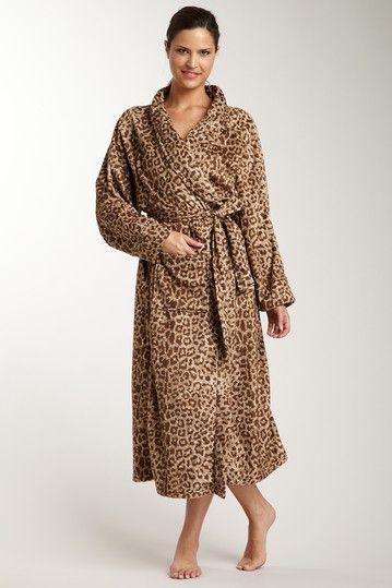 Thro by Marlo Lorenz Raquel Cheetah Printed Microplush Long Robe - Cheetah