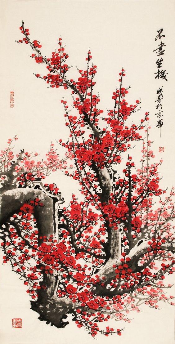 Chinese plum blossom painting: