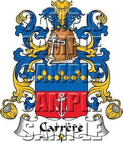 Carrere Family Crest apparel, Carrere Coat of Arms gifts
