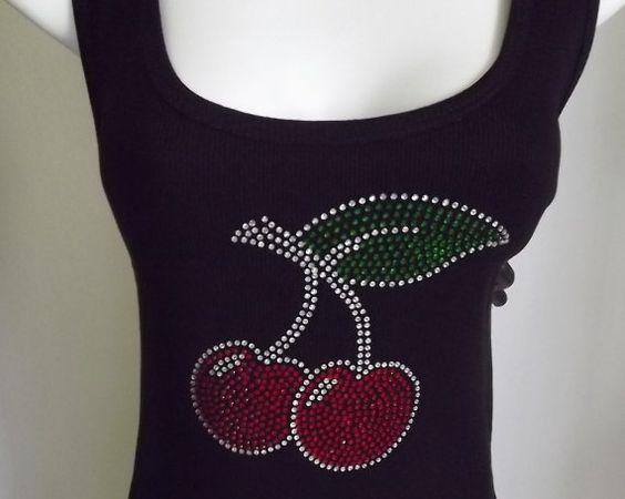 Womens Tank Top  Black Rhinestone Cherries