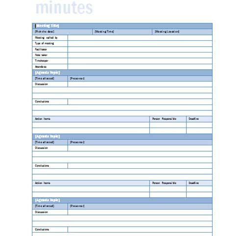 word minute template