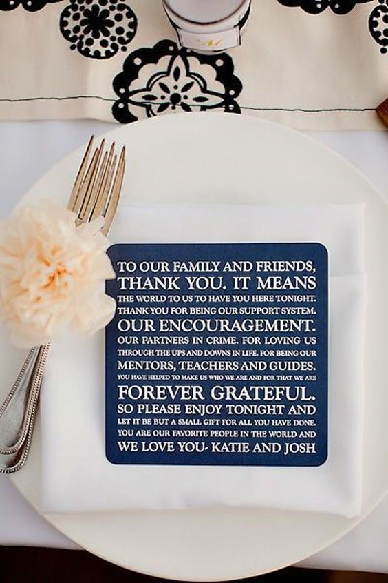 Thank you coasters for wedding reception table setting
