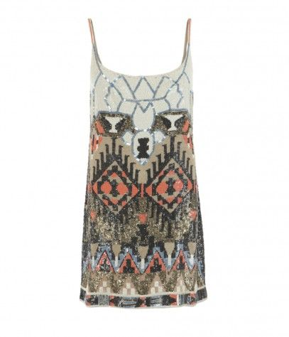 """AllSaints Aztec Dress...  """"All over hand embellished dress with intricate, geometric layout inspired by tribal prints featuring a contrast neckline and highlights of coral and metallic detailing.""""  Currently out of stock, but I was pinning it for the beading anyway.  :-)"""