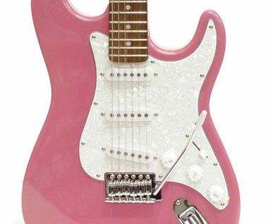 a pink guitar to rock out....