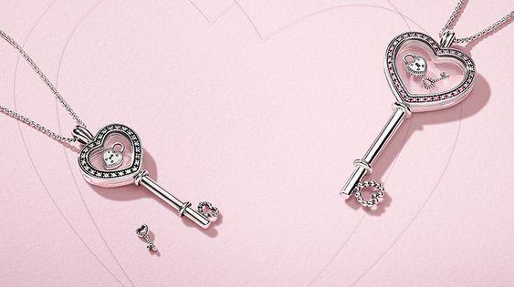 Pandora Floating Locket Heart Key Necklace Pandora Floating