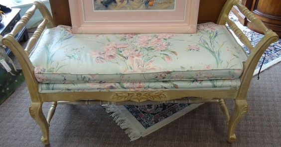 Beautiful 2 arm antiqued white bench!  Great for the end of the bed or in front of a fireplace! $95!  #TheCornerShoppe