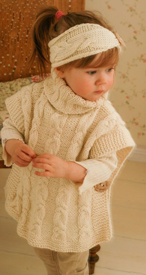 Knitting Pattern for Robyn Poncho for Babies and Children - Matching cable set. Poncho sizes: 12-18m/2-3y/4-5y/6-7y/8-10y/adult woman M