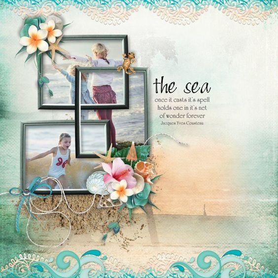 Our LOTD goes to  TRACEYB for the fantabulous final layout for the August Progressive Scrap! I am a  huge fan of Jacques Cousteau, and this quote definitely holds true for me. I love how she's layered the frames & photo's, and that sand element is just perfect!  She used the free pieces from the August 2016: Aloha Meg Kit given out to all August Progressive Scrap participants.