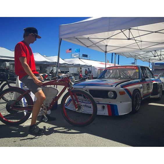 What better way to get around the racetrack? Keep your #DayDreams  #BMW #CSL x #vintageelectricbikes by vintageelectric