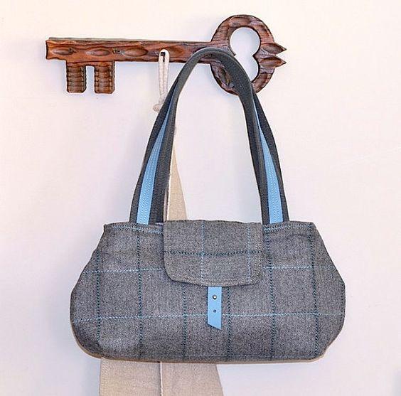 LA BOHEME Gray Purse Herringbone Wool  / Chic French shoulder bag