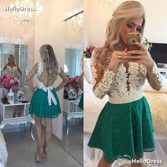 Long Sleeves Short Lace Homecoming Dress with Beadings on Storenvy
