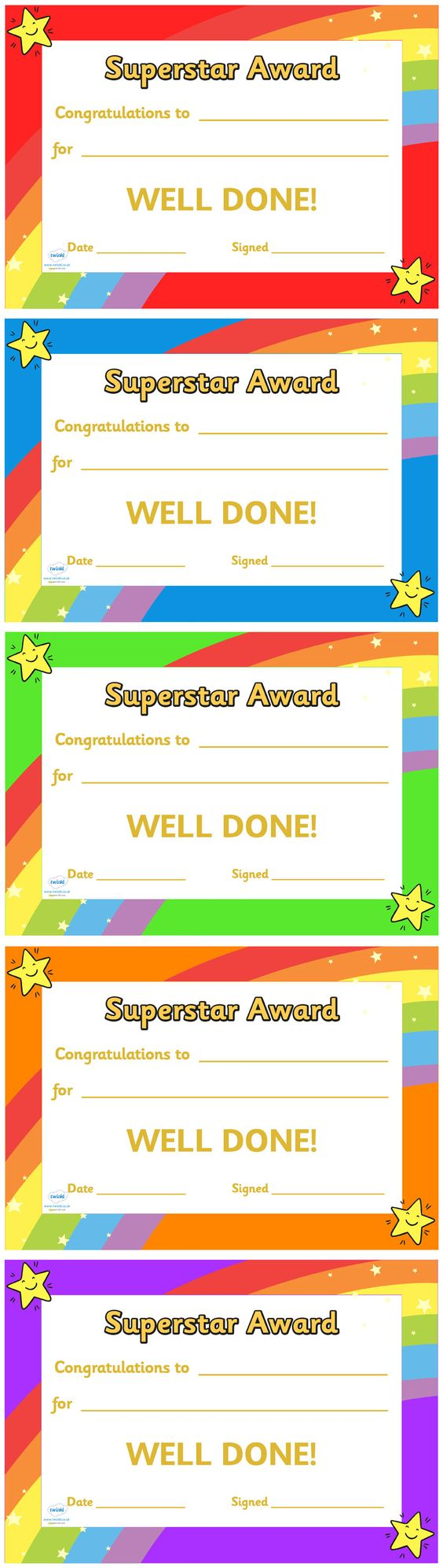 award certificates super star and studentcentered