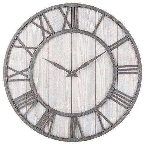 Oldtown Farmhouse Metal Solid Wood Noiseless Wall Clock Whitewash 24 Inch In 2020 Farmhouse Clocks French Home Decor Hippie Home Decor