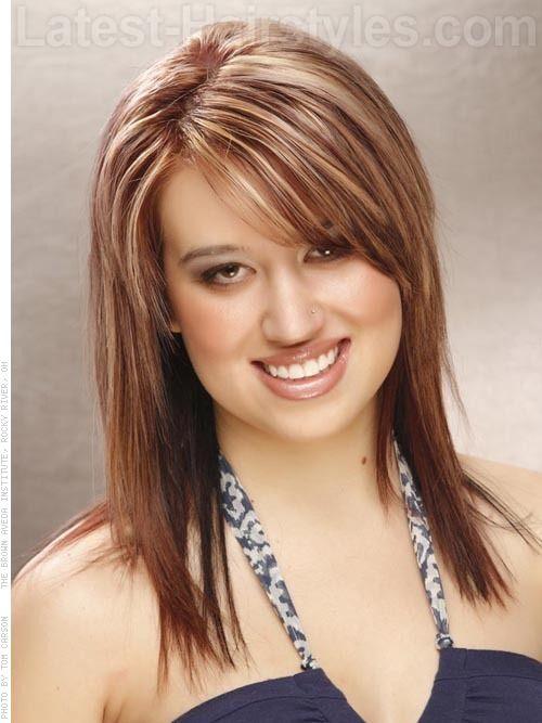 medium length layered haircuts with side bangs - Google Search