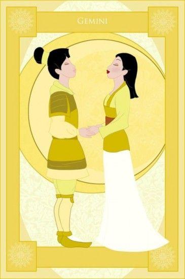 Princess Zodiac- Gemini Mulan: Zodiac Signs Gemini, Disney Princesses, Disney Zodiac, Disney Princess Zodiac, Disney Mulan, Mulan Disney, Gemini Mulan, Horoscope Gemini
