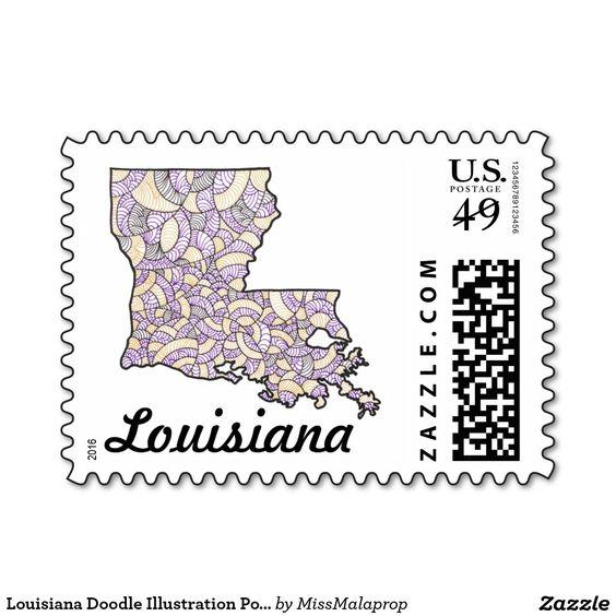 Louisiana Doodle Illustration Postage Stamp
