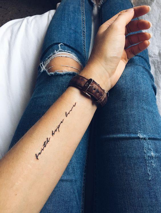 26 Faith Hope Love Tattoo Designs Ideas And Symbols Faith Hope Love Tattoos Inspiring Quote Tattoos Faith Tattoo On Wrist Inspirational Tattoos