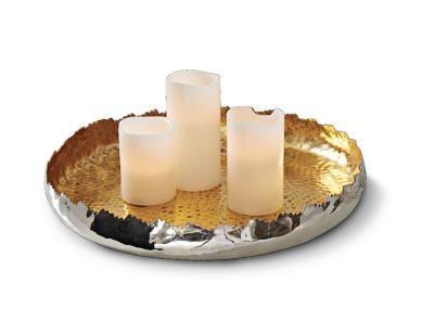 Diese moderne Dekoschale in Silber und Gold eignet sich für Kerzen und Deko aller Art.