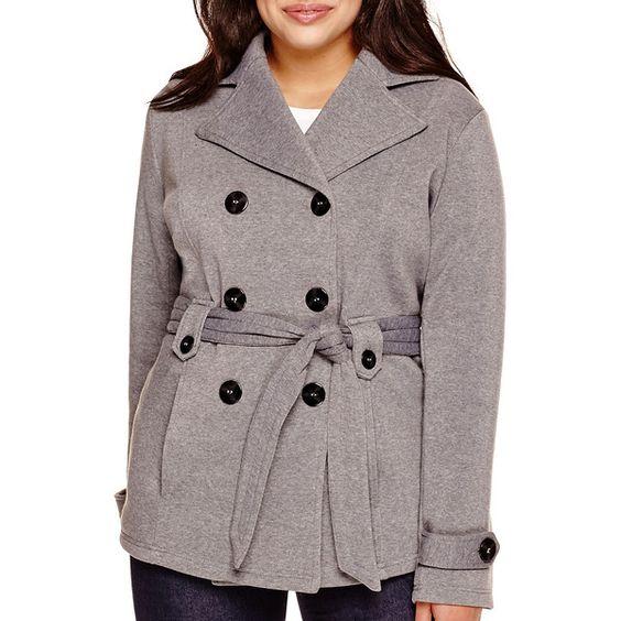 Jou Jou Long-Sleeve Fleece Trench Coat ($30) ❤ liked on Polyvore