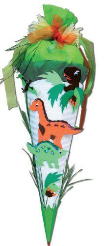 BASTELSET Schultüte - Dino 50 / 85 cm mit Tüllabschluß 6 - eckig - Zuckertüte