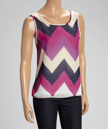 Another great find on #zulily! Purple & Black Sheer Zigzag Sleeveless Top #zulilyfinds