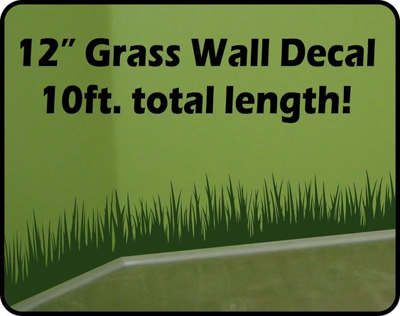 Tall Grass Wall Decal border (10 ft total length) - removable vinyl stickers - baseboard decor. $34.00, via Etsy.