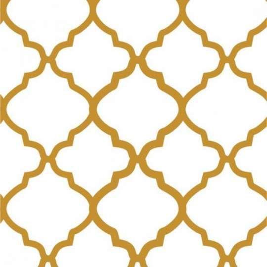 Tecido Adesivo Panoah Filo Branco Com Dourado