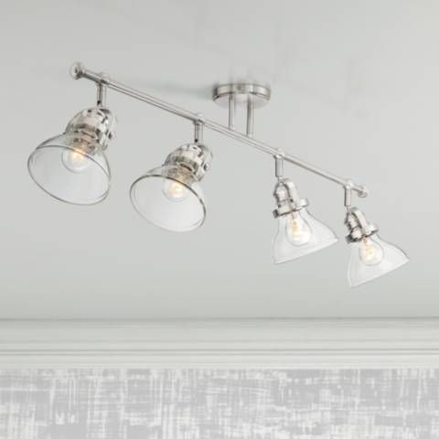 Luca 4 Light Nickel Clear Glass Track Fixture By Pro Track