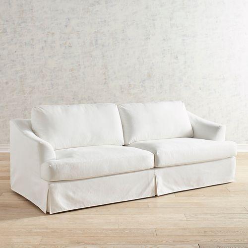 Mika Pierformance Ivory Slipcovered Sofa Slipcovers White Sofas Furniture