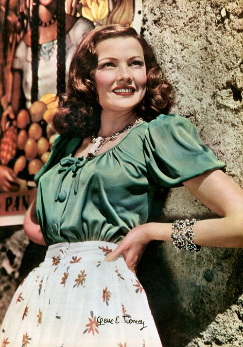 Gene Tierney, 1940s green peasant blouse puff sleeves bow ...