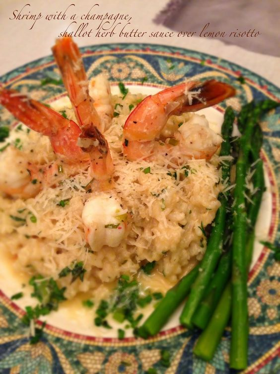The Urban Domestic Diva: RECIPE: Shrimp with a champagne, shallot herb butter sauce over lemon risotto