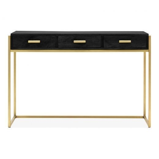 Orson Industrial 3 Drawer Console Desk Black Console Desk Black Console Table Modern Console Tables