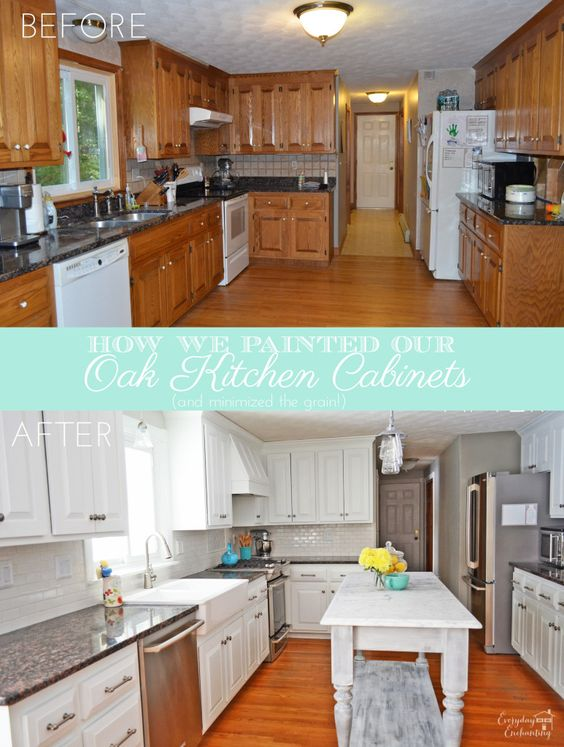 How We Painted Our Oak Cabinets and Hid the Grain | Painting oak ...