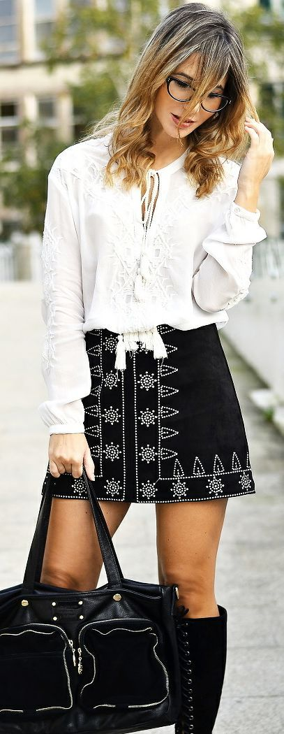 Ma Petite By Ana White Embroidered Tunic On Ethnic A-skirt Fall Street Style Inspo