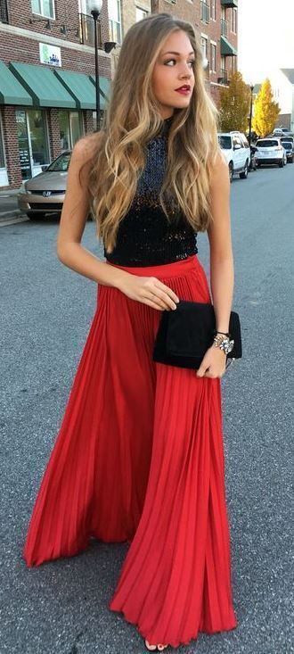 flowy red maxi skirt