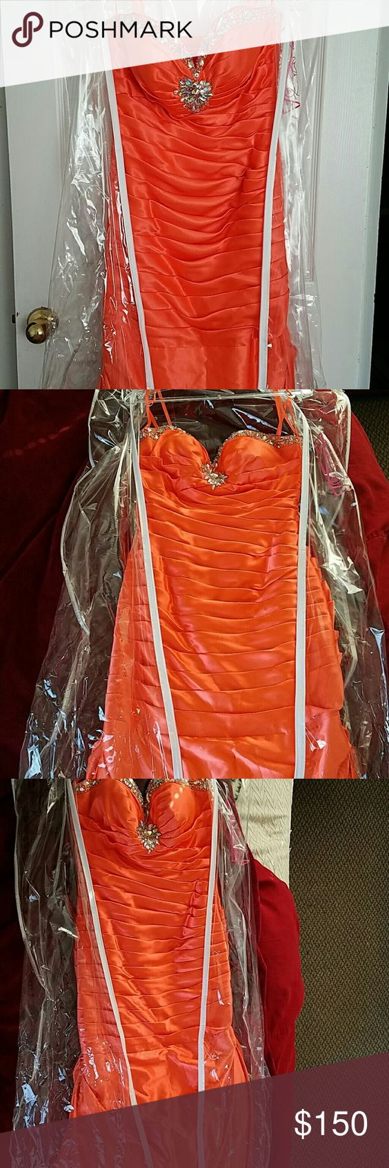 Prom dress bedazzled chest coral mermaid dress perfect with