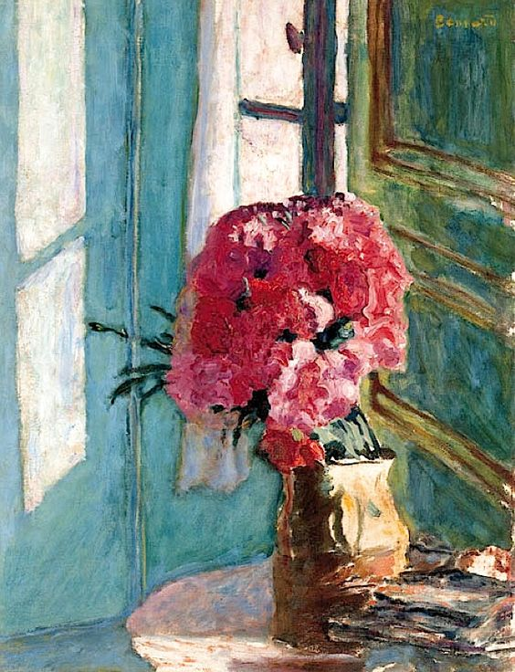 Pierre Bonnard (1867-1947) Les oeillets  I love the subtle light, the lovely colour and almost abstract composition of Bonnard's work.