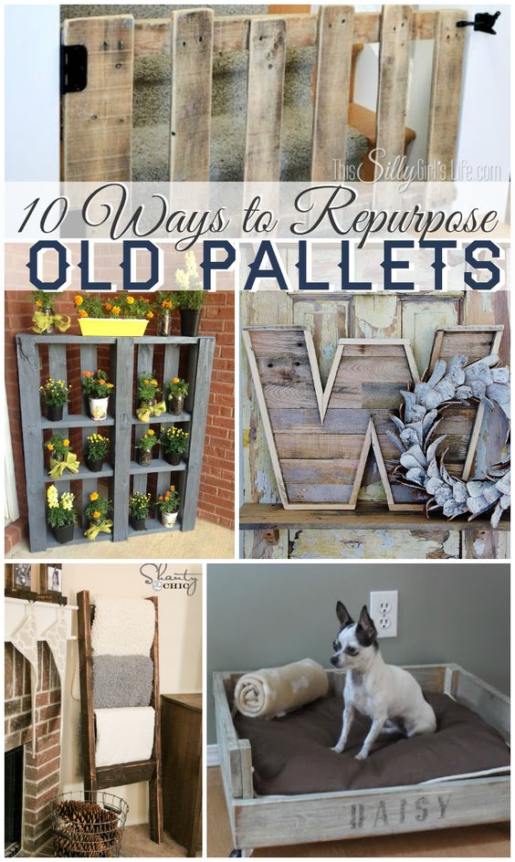 10 Ways to Repurpose Old Pallets, get inspired with this collection of pallet DIY tutorials! - ThisSillyGirlsLife.com