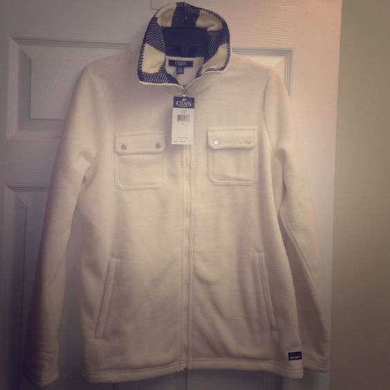 Chaps Sport winter white fleece jacket coat Nwt L Black plaid trim at neckline. Front pockets above waist. Snap pockets at chest. New with tags. Retail $75 Chaps Jackets & Coats