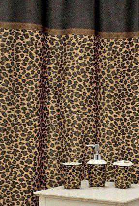 Leopard Print Shower Curtain Bath Accessories Set Brown Shower