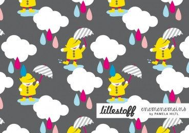 Dancing in the Rain  from LILLESTOFF euro knit print organic cotton fabric - gots certified - 1/2 meter 19.5
