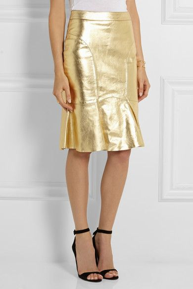 Going for Gold | Leather skirts, Moschino and Gold leather