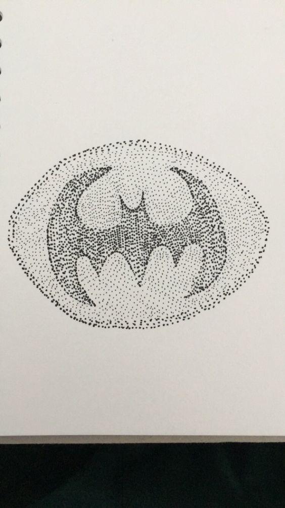 Pointillism piece of the batman symbol.