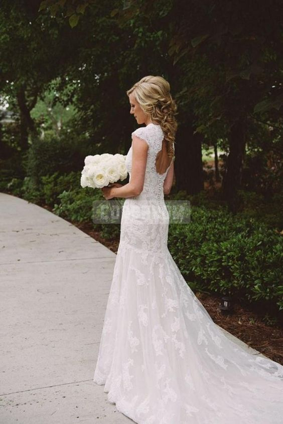 V-neck Mermaid Lace Capped Sleeves Buttons Wedding Dress