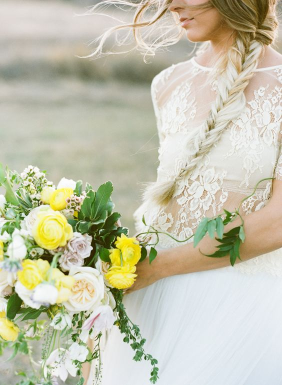 Braided - Yellow Wedding Ideas in the Colorado landscape by Carrie King Photo - via Magnolia Rouge (Florals: Yonder Floral & Decor House)