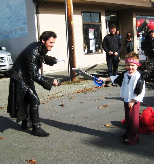 Colin O'Donoghue with a fan on the sets of Once Upon a Time