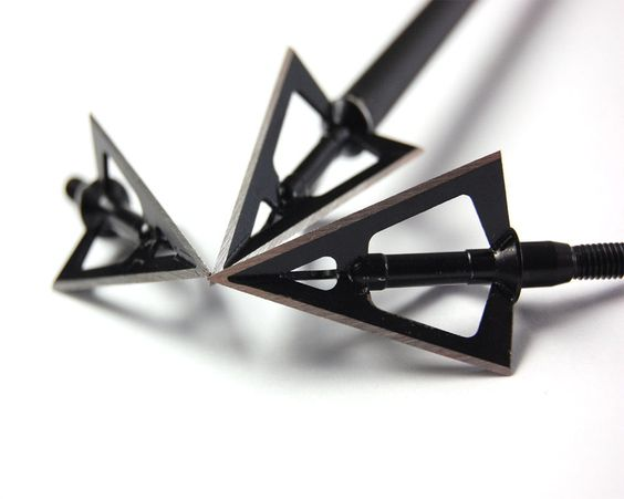 Broadheads Arrow Head 3pcs Hunting Outdoors 3Blade Archery 100Grains Point Black #Unbranded