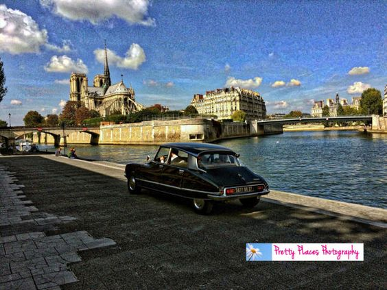 Instant Download Paris Seine Antique Car by PrettyPlacesPhotos