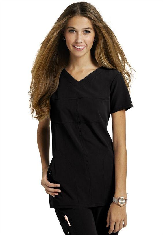 Greys Anatomy Signature 2-pocket v-neck scrub top. Black. XS.